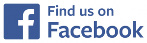 "Button that says, ""Find us on Facebook."" in blue text against white background with a white letter f on blue background."